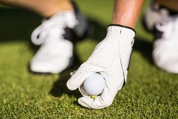 Cropped image of man placing golf ball on tee