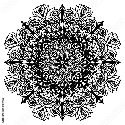 Round Element For Coloring Book Black And White Ethnic Henna