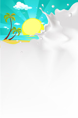 vector white splash milk illustration background with tropical beach nature