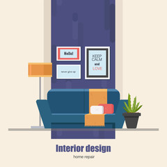 Home Interior design concept made in modern flat style. Living room vector illustration. Can be used for infographics design, web elements.