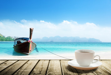 Fotomurales - Thailand beach and cup of coffee