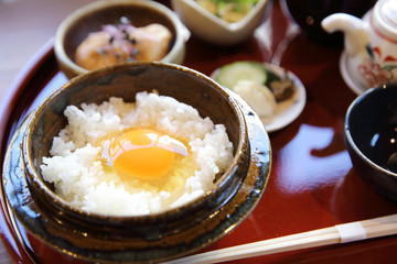 Japanese traditional food mixes a raw egg and rice