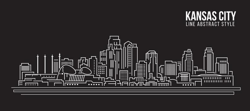 Cityscape Building Line art Vector Illustration design - Kansas city