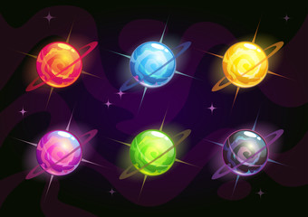 Cool bright colorful fantasy planets
