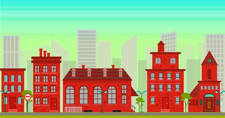 City landscape in flat style