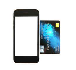 Credit card with phone on white background