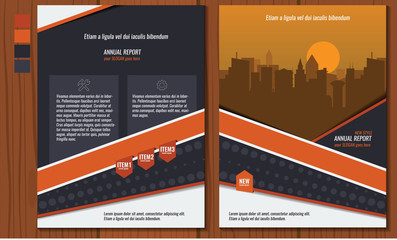 Orange annual report Leaflet Brochure Flyer template A4 size