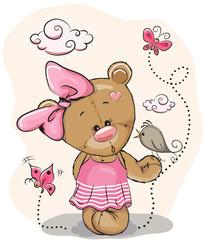 Teddy Girl and bird