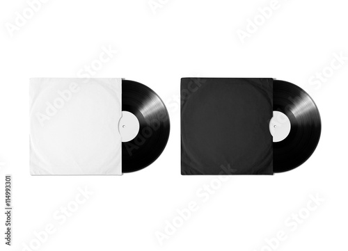 Blank white and black vinyl album cover sleeve mockup isolated blank white and black vinyl album cover sleeve mockup isolated clipping path gramophone maxwellsz