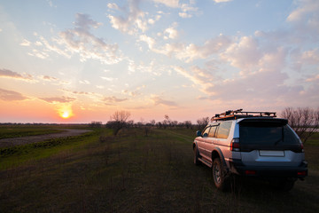 PRIAMURSKY, RUSSIA - MAY 08, 2016: 4x4 SUV on country road at su