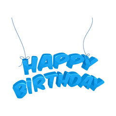 Happy Birthday blue words hanging icon in cartoon style on a white background
