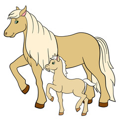 Cartoon farm animals. Mother horse with her foal.