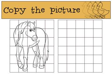 Children games: Copy the picture. Cute horse.