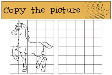 Children games: Copy the picture. Little cute foal.