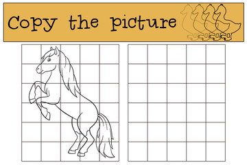 Children games: Copy the picture. Cute horse.