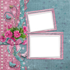 Old vintage photo album with beautiful pink peonies