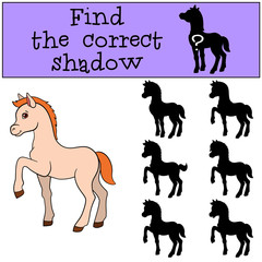 Children games: Find the correct shadow. Little cute foal.