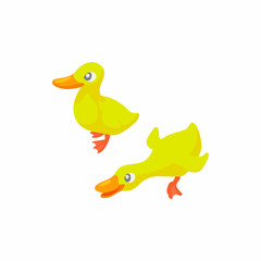 Two yellow ducks icon in cartoon style on a white background