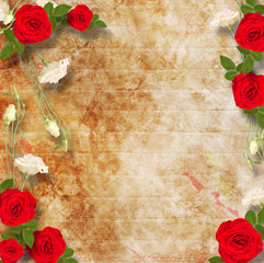 Beautiful greeting card with bouquet of red and white roses
