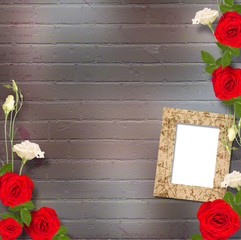 Beautiful greeting card with bouquet of red roses