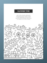 Summer Time - line design brochure poster template A4