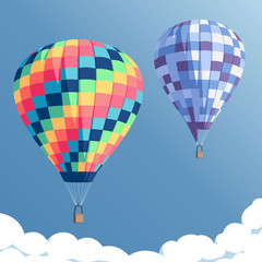 colorful hot air balloons on blue sky background with clouds, vector illustration of bright rainbow hot air balloons