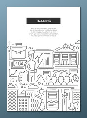 Business Training - line design brochure poster template A4