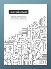 Cleaning Service - line design brochure poster template A4