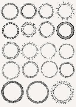19 hand drawn circle frames