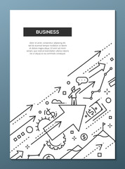 Business Success - line design brochure poster template A4