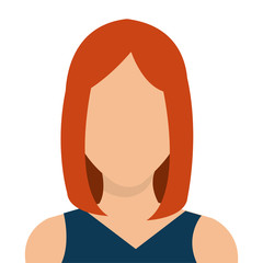 Young woman profile avatar isolated on white background, vector illustration.