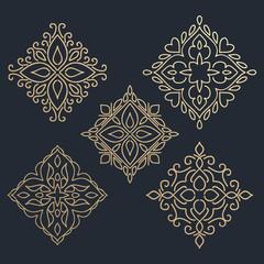 Calligraphic design element. Golden brand