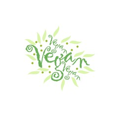 Vegan Logo with a single fresh green leaf above lowercase text - vegan - on a white background, simple stylish vector illustration