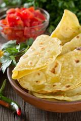 Homemade mexican tortilla