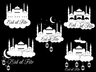 Ramadan Kareem Mosque Minaret Lantern And Moon Eid Al Fitr Muslim Traditional