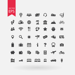 Travel icons set. Tourism signs collection. Vacation symbols isolated on white background. Vector icons of booking, transports, excursions, service, food, luggage, payment. Flat design style.