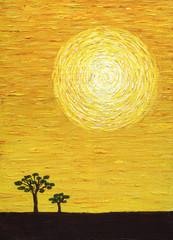 Yellow sun, acrylic paint