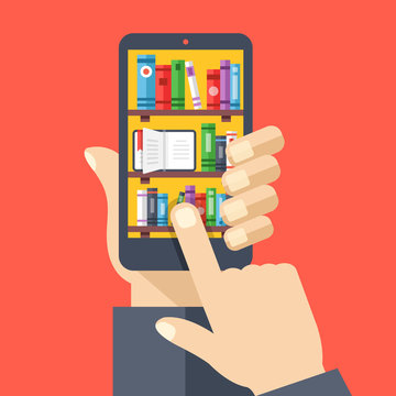 Bookshelves with books on smartphone screen. Online digital library. Hand holds smartphone, finger touches screen. Modern concepts. Creative flat design vector illustration