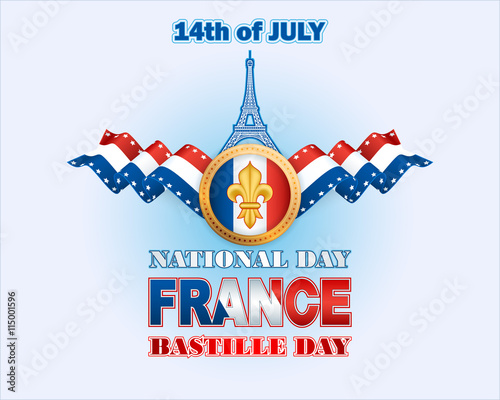 Background With The France Flag Colors Eiffel Tower Shape And Lily