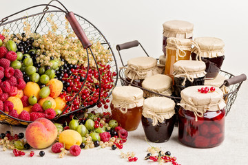 Summer fruits and berries - red, black and white currants, raspb