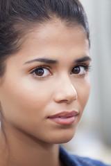 Beautiful latin woman face with natural makeup