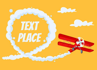 Airplane with speech bubble. Vector flat cartoon illustration