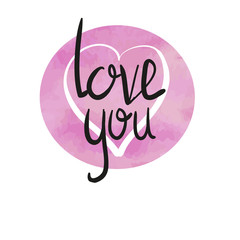 love you hand lettering handmade calligraphy, vector