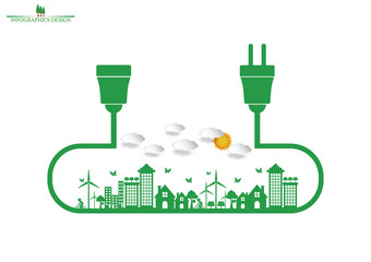 Ecology connection electrical plug concept background . Vector