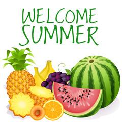 Фрукты, фруктовый сет, реалистичные фрукты и ягоды на изолированном фоне