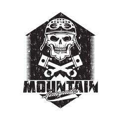 mountain renegades vintage grunge print with skull, pistons moun