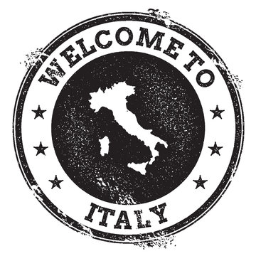Vintage passport welcome stamp with Italy map. Grunge rubber stamp with Welcome to Italy text, vector illustration.