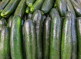 Fresh organic zucchini at a local farmers market.