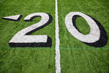 20 yard line on a green football field with white lettering