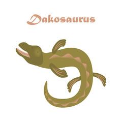 Jurassic reptile. Dinosaur vector illustration